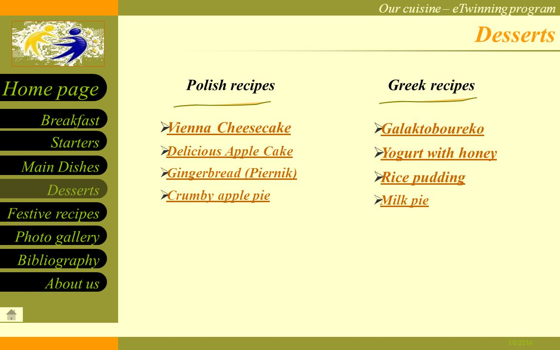 Our cuisine – eTwinning program Starters Main Dishes Desserts Breakfast Home page Festive recipes Photo gallery About us Bibliography 1/6/2014 Polish recipes Lamb Fricassee Lamb Fricassee Fried calamari Octopus with vinegar sauce Octopus with vinegar sauce Gemista Souvlaki with pitta bread Main dishes Greek recipes Pork chop Bigos Polish pancakes Pierogi with cabbage and Pierogi with cabbage and mushrooms