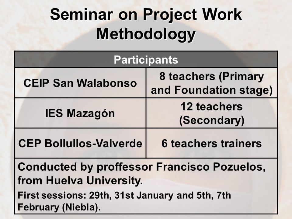 Participants CEIP San Walabonso 8 teachers (Primary and Foundation stage) IES Mazagón 12 teachers (Secondary) CEP Bollullos-Valverde6 teachers trainers Conducted by proffessor Francisco Pozuelos, from Huelva University.