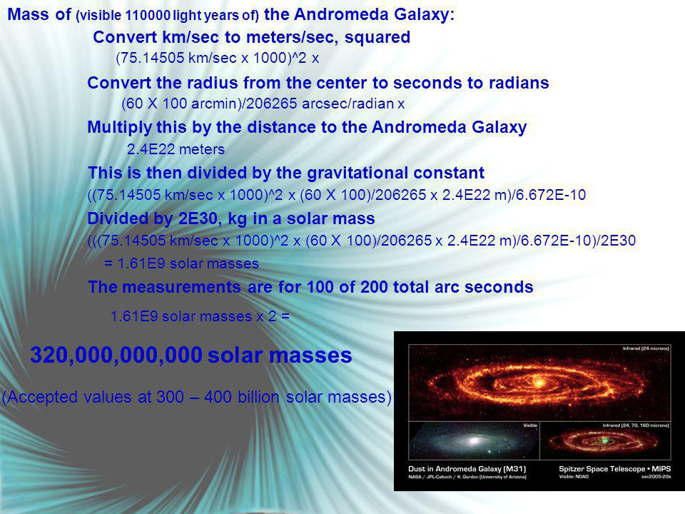 Convert km/sec to meters/sec, squared Mass of (visible 110000 light years of) the Andromeda Galaxy: Convert the radius from the center to seconds to radians Multiply this by the distance to the Andromeda Galaxy This is then divided by the gravitational constant Divided by 2E30, kg in a solar mass (75.14505 km/sec x 1000)^2 x (60 X 100 arcmin)/206265 arcsec/radian x 2.4E22 meters ((75.14505 km/sec x 1000)^2 x (60 X 100)/206265 x 2.4E22 m)/6.672E-10 (((75.14505 km/sec x 1000)^2 x (60 X 100)/206265 x 2.4E22 m)/6.672E-10)/2E30 = 1.61E9 solar masses The measurements are for 100 of 200 total arc seconds 1.61E9 solar masses x 2 = 320,000,000,000 solar masses (Accepted values at 300 – 400 billion solar masses)