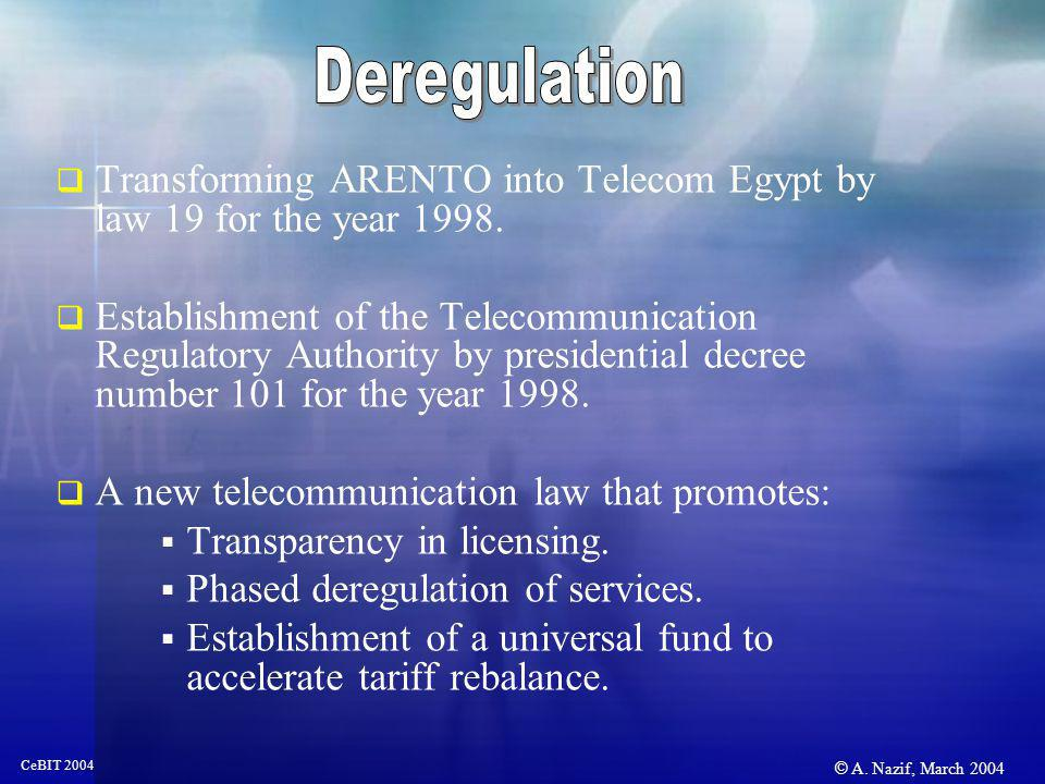 © A. Nazif, March 2004 CeBIT 2004 Transforming ARENTO into Telecom Egypt by law 19 for the year 1998. Establishment of the Telecommunication Regulator