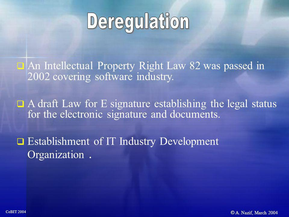 © A. Nazif, March 2004 CeBIT 2004 An Intellectual Property Right Law 82 was passed in 2002 covering software industry. A draft Law for E signature est