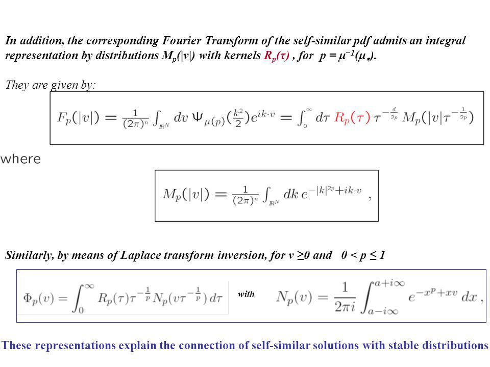 These representations explain the connection of self-similar solutions with stable distributions Similarly, by means of Laplace transform inversion, f