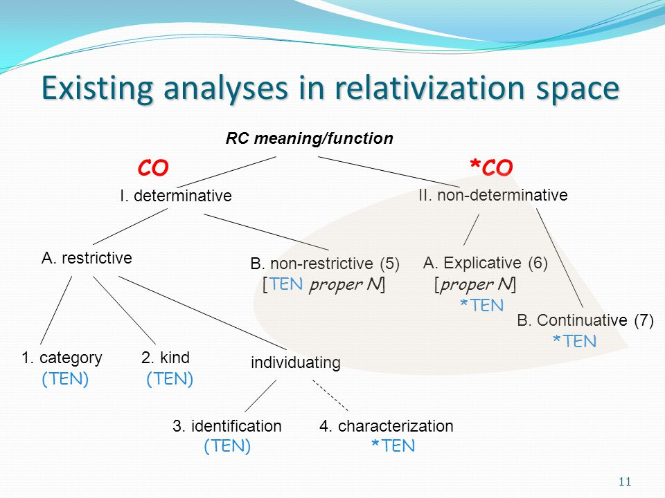 Existing analyses in relativization space RC meaning/function I.