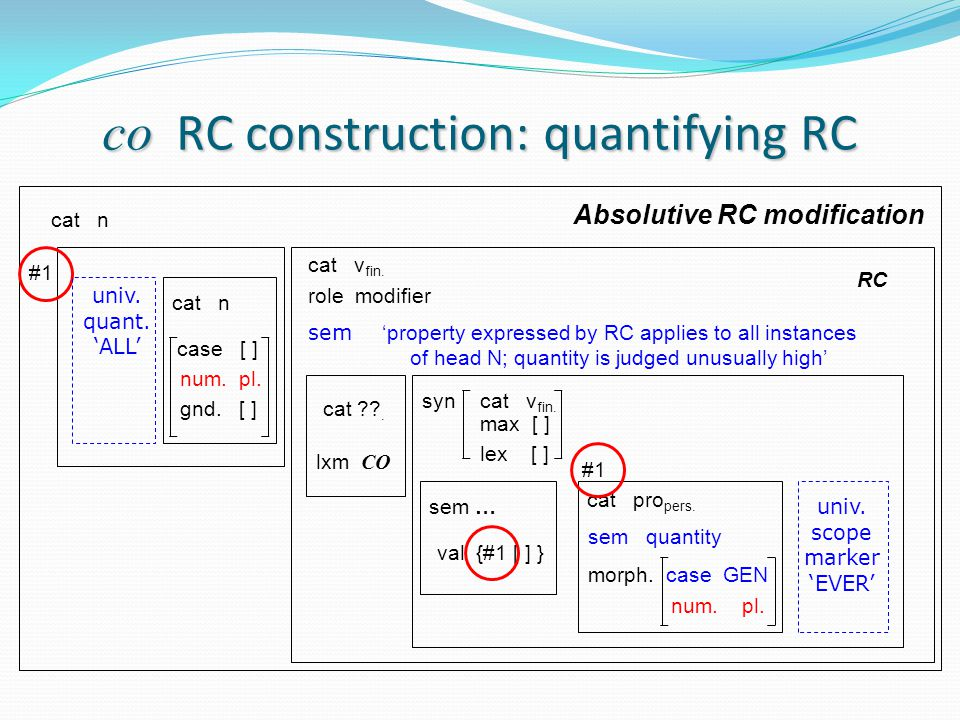 co RC construction: quantifying RC cat n cat v fin.