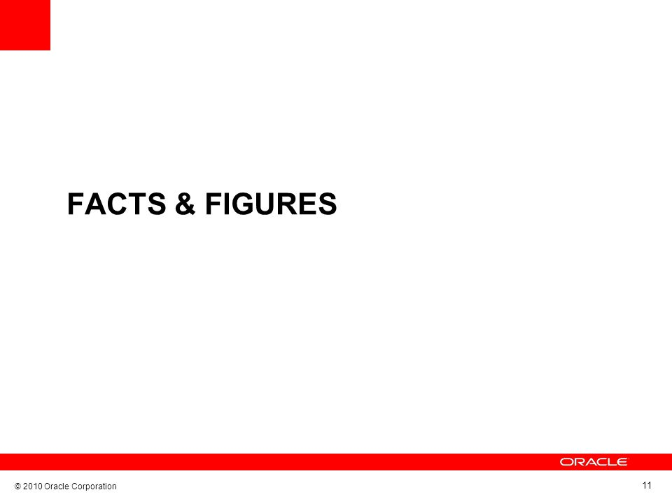 © 2010 Oracle Corporation 11 FACTS & FIGURES