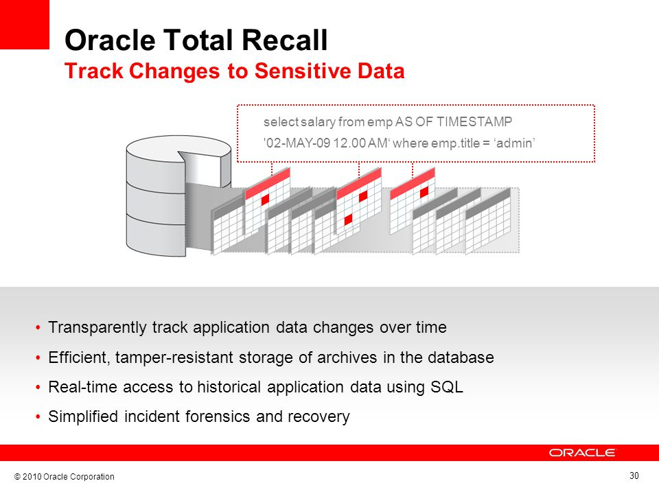 © 2010 Oracle Corporation 30 Oracle Total Recall Track Changes to Sensitive Data select salary from emp AS OF TIMESTAMP 02-MAY-09 12.00 AM where emp.title = admin Transparently track application data changes over time Efficient, tamper-resistant storage of archives in the database Real-time access to historical application data using SQL Simplified incident forensics and recovery