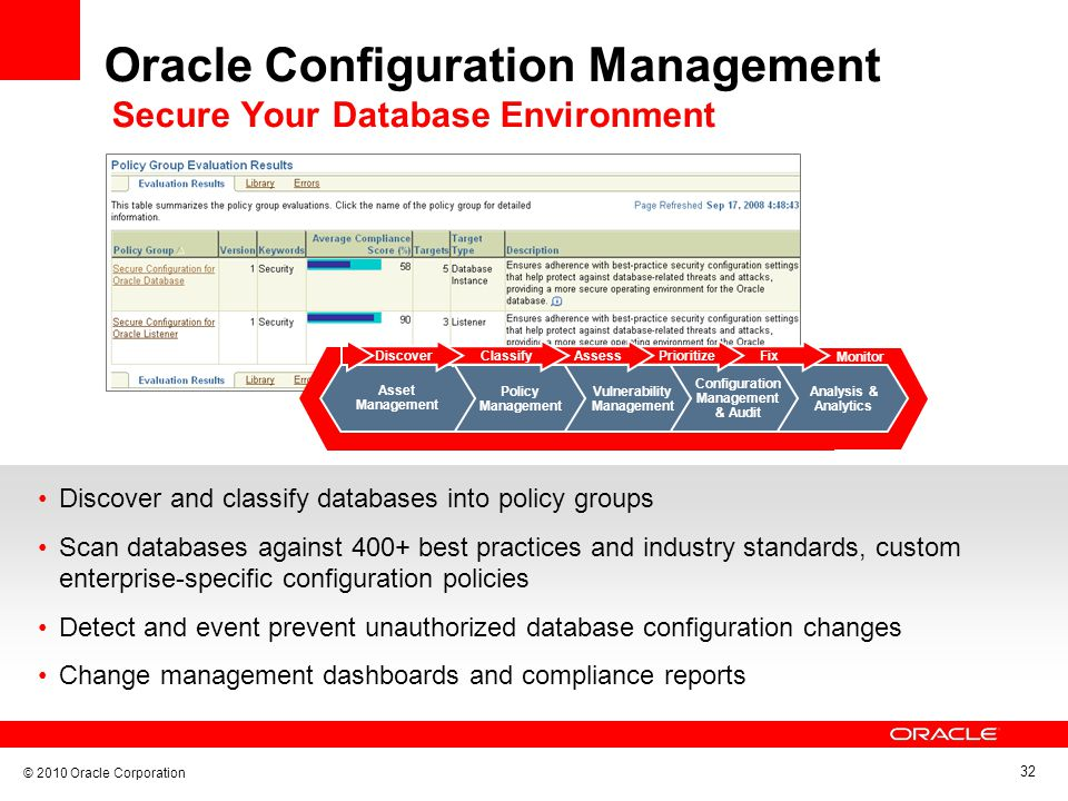 © 2010 Oracle Corporation 32 Oracle Configuration Management Secure Your Database Environment Discover and classify databases into policy groups Scan databases against 400+ best practices and industry standards, custom enterprise-specific configuration policies Detect and event prevent unauthorized database configuration changes Change management dashboards and compliance reports Monitor Configuration Management & Audit Vulnerability Management Fix Analysis & Analytics Prioritize Policy Management AssessClassify Monitor Discover Asset Management