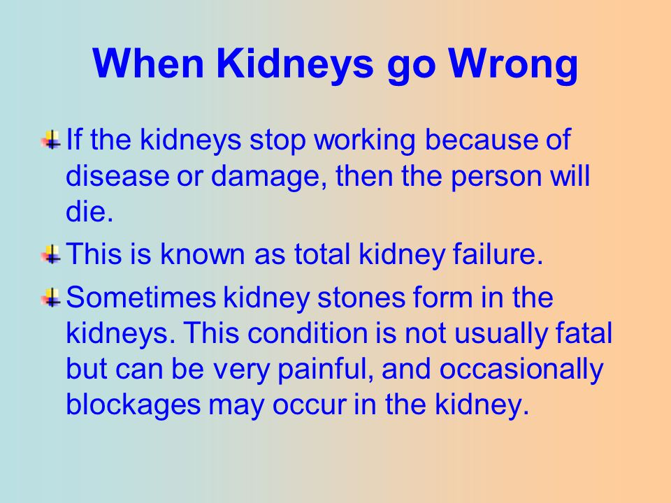When Kidneys go Wrong If the kidneys stop working because of disease or damage, then the person will die. This is known as total kidney failure. Somet