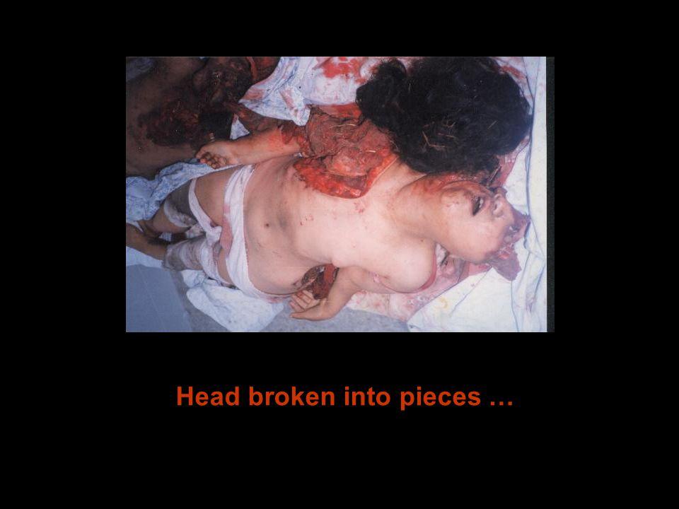 Head broken into pieces …
