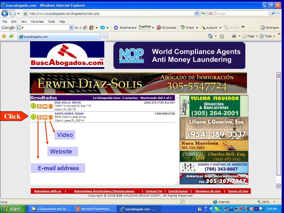 E-mail address Video Website Click