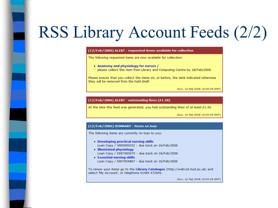 RSS Library Account Feeds (2/2)