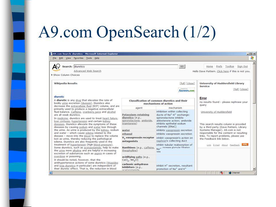A9.com OpenSearch (1/2)