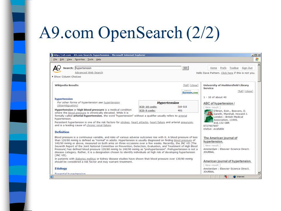 A9.com OpenSearch (2/2)