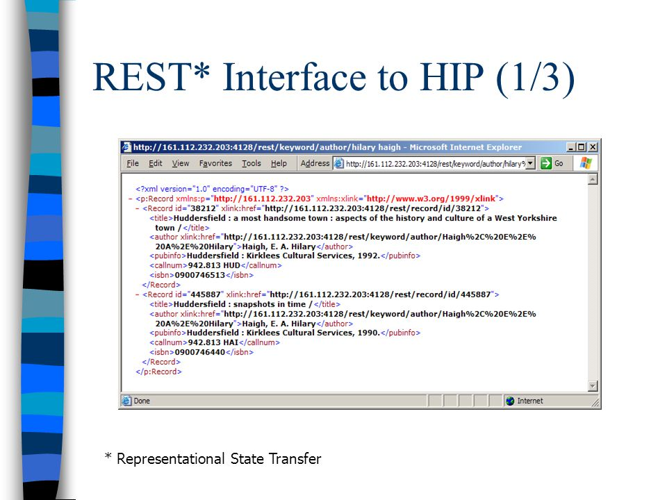 REST* Interface to HIP (1/3) * Representational State Transfer