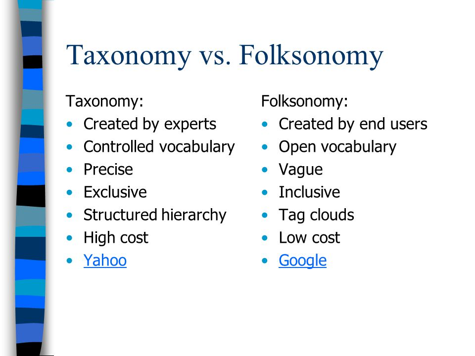 Taxonomy vs. Folksonomy Taxonomy: Created by experts Controlled vocabulary Precise Exclusive Structured hierarchy High cost Yahoo Folksonomy: Created