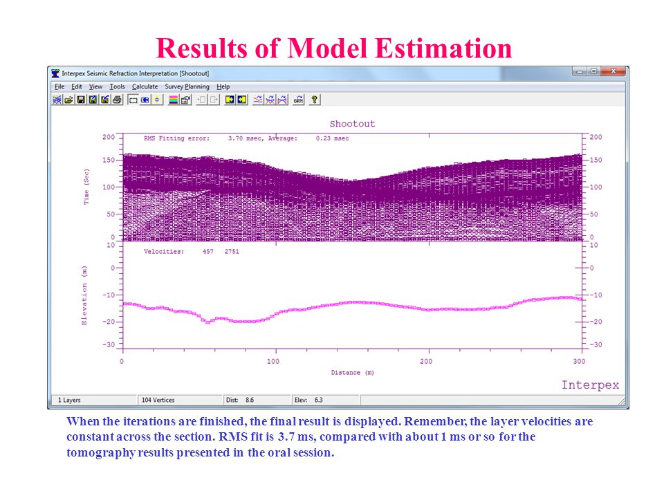 Results of Model Estimation When the iterations are finished, the final result is displayed. Remember, the layer velocities are constant across the se