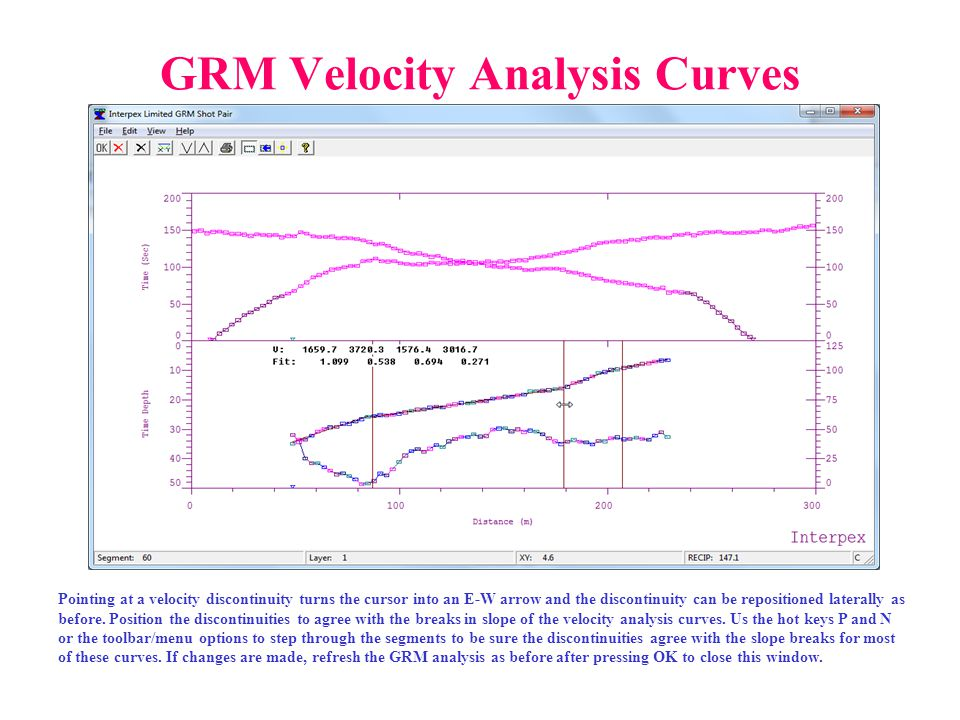 GRM Velocity Analysis Curves Pointing at a velocity discontinuity turns the cursor into an E-W arrow and the discontinuity can be repositioned lateral