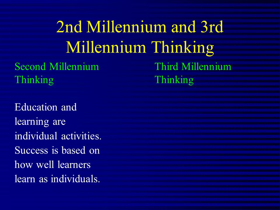 2nd Millennium and 3rd Millennium Thinking Second Millennium Third MillenniumThinking Education and learning are individual activities.
