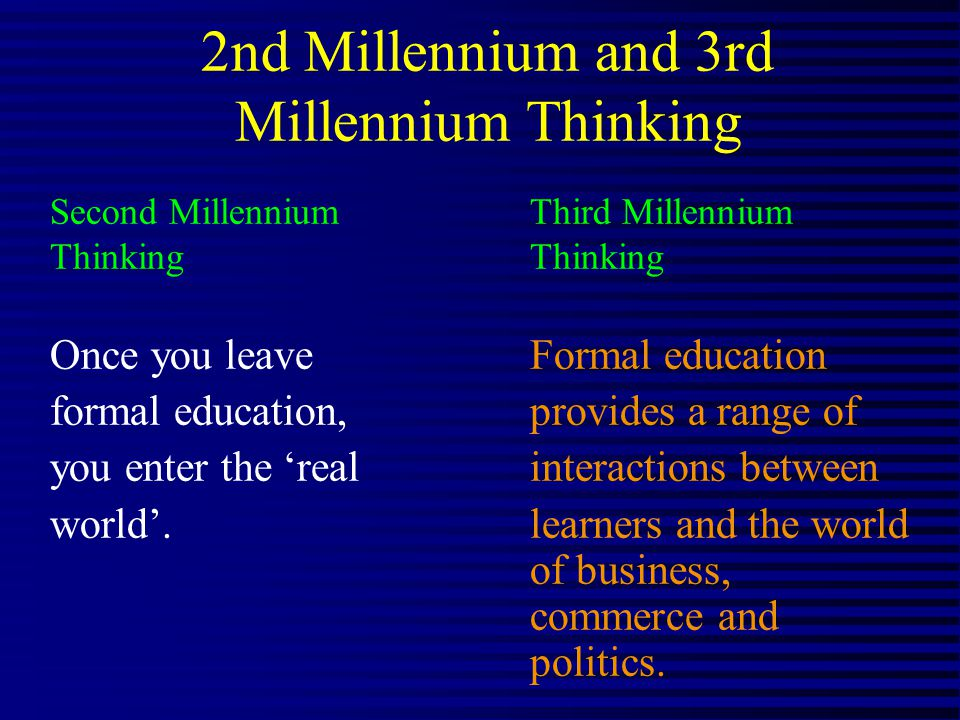 2nd Millennium and 3rd Millennium Thinking Second Millennium Third Millennium Thinking Once you leave Formal education formal education, provides a range of you enter the real interactions between world.