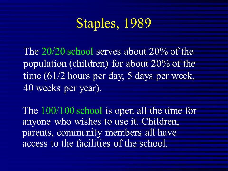 The 20/20 school serves about 20% of the population (children) for about 20% of the time (61/2 hours per day, 5 days per week, 40 weeks per year).