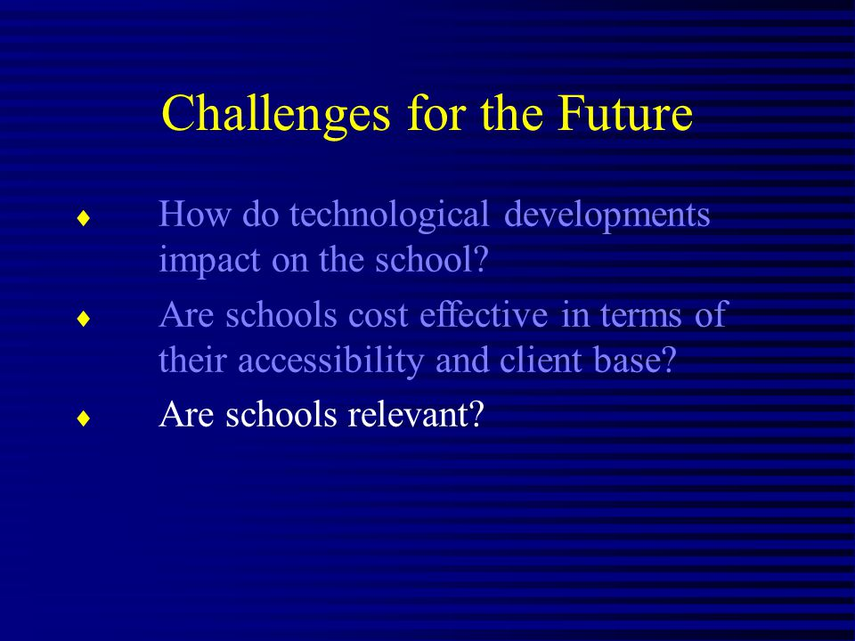 Challenges for the Future How do technological developments impact on the school.