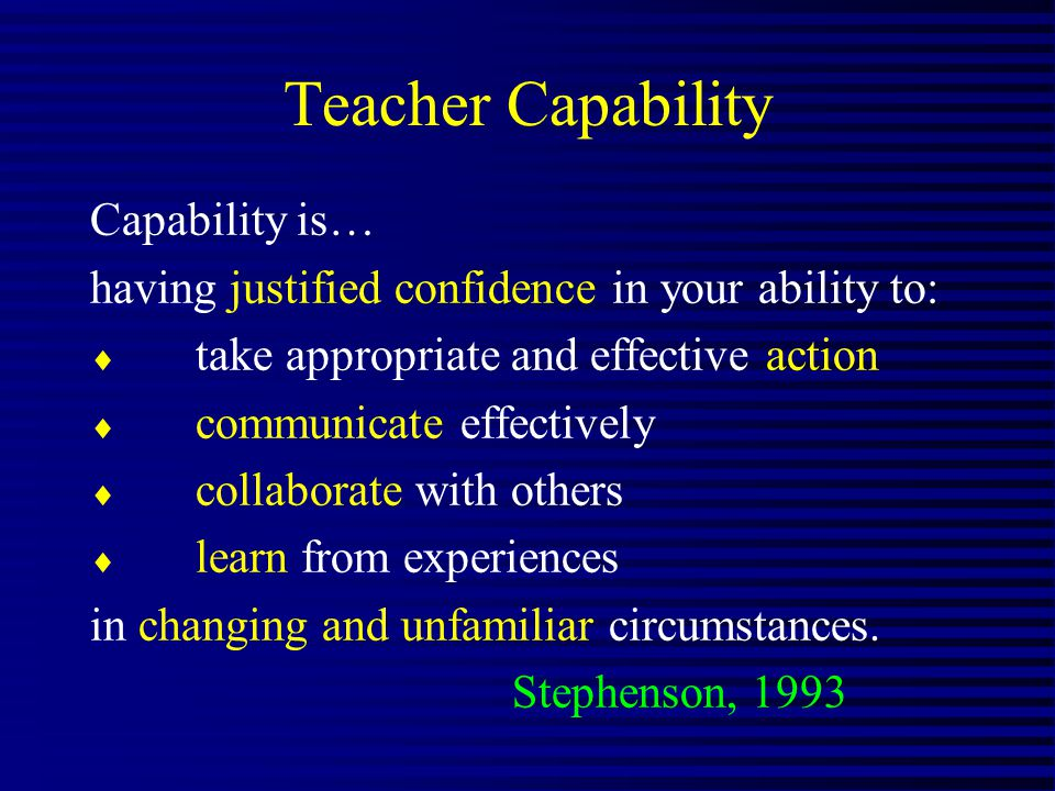 Teacher Capability Capability is… having justified confidence in your ability to: take appropriate and effective action communicate effectively collaborate with others learn from experiences in changing and unfamiliar circumstances.