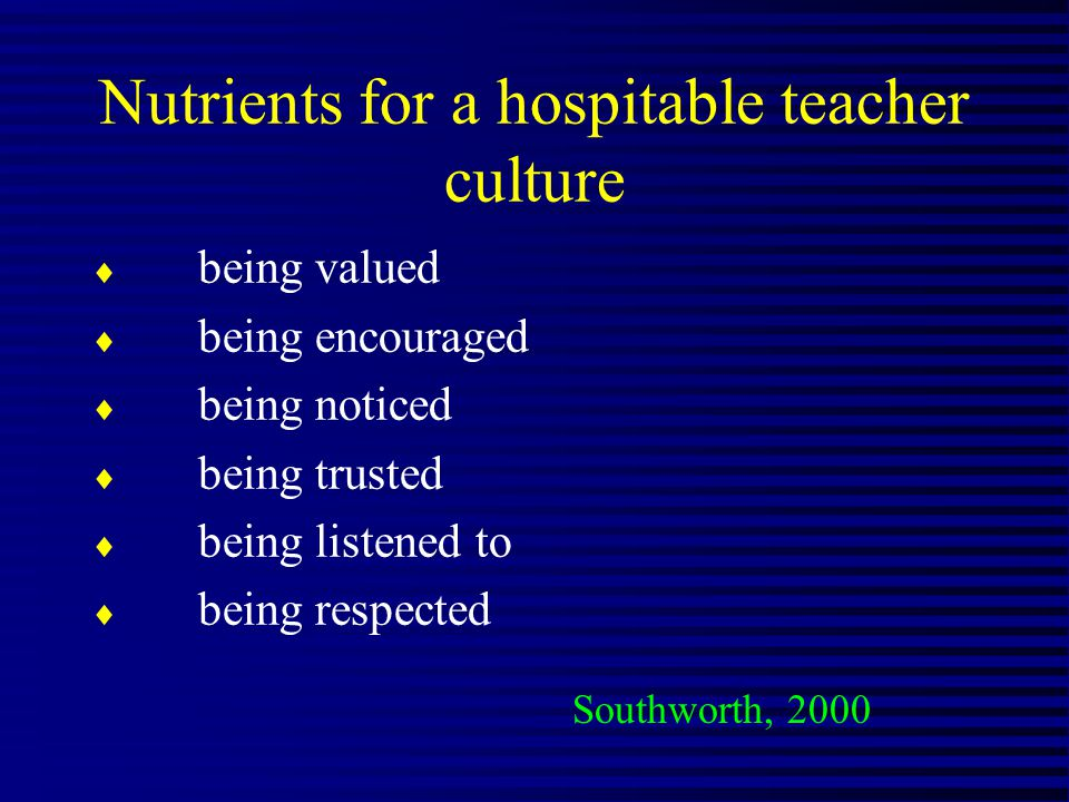 Nutrients for a hospitable teacher culture being valued being encouraged being noticed being trusted being listened to being respected Southworth, 2000