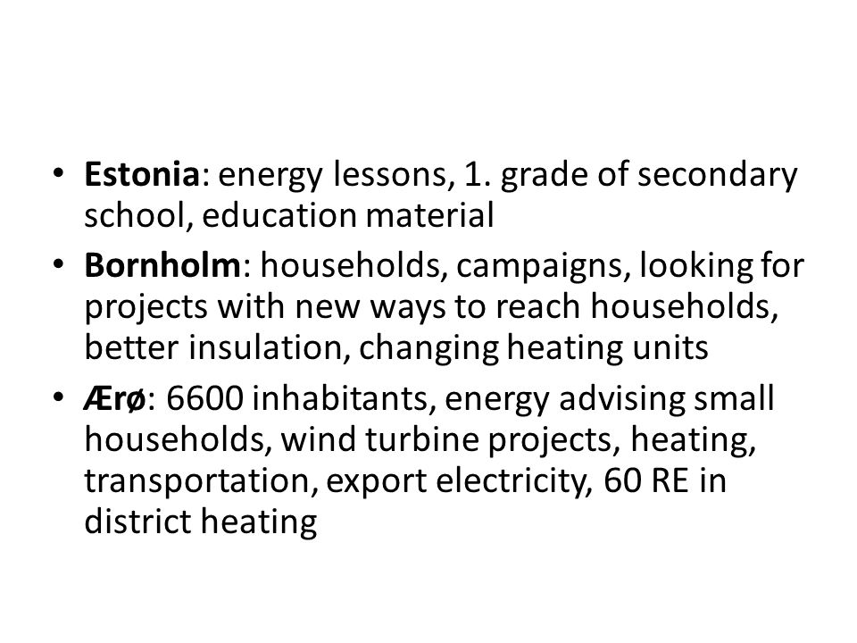 Main technical problem re energy and infrastructure.