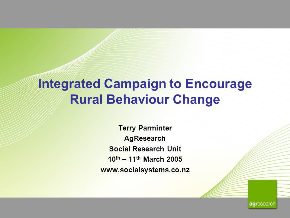 Integrated Campaign to Encourage Rural Behaviour Change Terry Parminter AgResearch Social Research Unit 10 th – 11 th March 2005 www.socialsystems.co.
