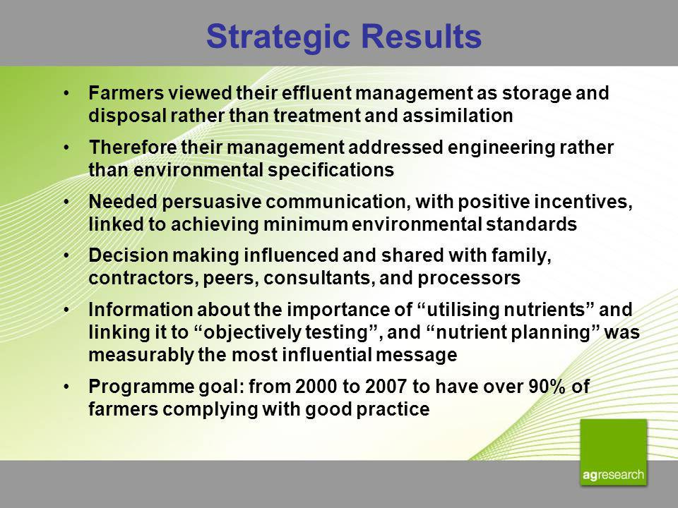 Strategic Results Farmers viewed their effluent management as storage and disposal rather than treatment and assimilation Therefore their management a
