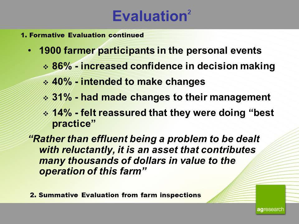 Evaluation 2 1900 farmer participants in the personal events 86% - increased confidence in decision making 40% - intended to make changes 31% - had ma