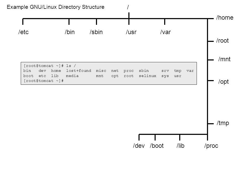 / /etc fstab group hosts hosts.allow hosts.deny httpd/ conf/ httpd.conf inittab issue modules.conf motd mtab pam.d/ login passwd profile rc.d/ rc rc0.d/ rc1.d/ rc2.d/ rc3.d/ rc4.d/ rc5.d/ rc6.d/ rc.sysinit /sbin arp bastille chkconfig debugfs dhclient dmesg dump e2label fdisk grub halt ifconfig init insmod iptables lsmod lspci mingetty mkfs partprobe portmap quotaon quotaoff restore rmmod route service shutdown tripwire tune2fs /bin bash cat chgrp chmod chown cp cpio date dd df dmesg echo env grep hostname ln ls mail mkdir more mount mv netstat ping ps rm rmdir rpm sleep sort su tar touch umount uname vi Example GNU/Linux Directory Structure /boot grub/ grub.conf initrd-2.4.20-6.img vmlinuz-2.4.20-6 /usr bin/ at bc cal cancel clear crontab fdformat file find finger gcc head id info less lp/lpr lpstat make man mesg mozilla openssl passwd perl quota scp spell ssh sudo tail tee telnet wc who write xxd /root.bash_profile.bashrc sbin/ crond cupsd httpd kudzu pppd sendmail sshd traceroute useradd usermod userdel xinetd X11R6/ bin/ startx twm X xclock xinit xsetroot xwd /var log/ Bastille/ Assessment/ assessment-report.html dmesg httpd/ access_log error_log spool/ clientmqueue /proc interupts ioports modules sys/ net/ ipv4/ ip_forward resolv.conf securetty shadow sysctl.conf sysconfig/ network network-scripts/ ifcfg-eth0 xinetd.d/ telnet /lib modules/ 2.4.20-6/ kernel/ drivers/ net/ 3c59x.o /home rsimms/.bash_profile.bashrc /mnt cdrom/ floppy/ /opt lampp/ bin mysql htdocs phpmyadmin/ index.php sbin/ mysqld /tmp ssh-XXjXuIH9/ agent.13695 /dev hda hda1 had2 tty1 Note: shell builtins = cd, echo, exit, export, history, jobs, kill, pwd, set, type, umask, unset shell keywords = if, then, else, case, for, while [root@tomcat ~]# ls / bin dev home lost+found misc net proc sbin srv tmp var boot etc lib media mnt opt root selinux sys usr [root@tomcat ~]#