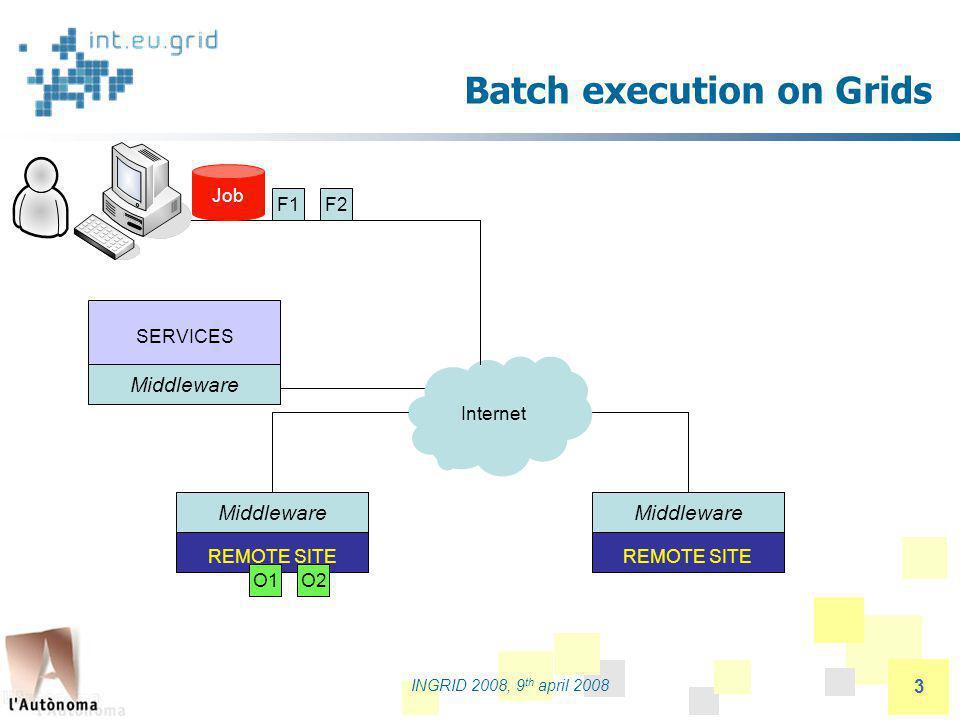 partners logo INGRID 2008, 9 th april 2008 24 Interactive MPI application Type = Job ; VirtualOrganisation = imain ; JobType = Parallel ; SubJobType = openmpi ; NodeNumber = 4; Interactive = TRUE; InteractiveAgent = glogin; InteractiveAgentArguments = -r –p 195.168.105.65:23433; Executable = test-app ; InputSandbox = { test-app , inputfile }; OutputSanbox = { std.out , std.err }; StdErr = std.err; StdOutput = std.out ; Rank = other.GlueHostBenchmarkSI00 ; Requirements = other.GlueCEStateStatus == Production ;