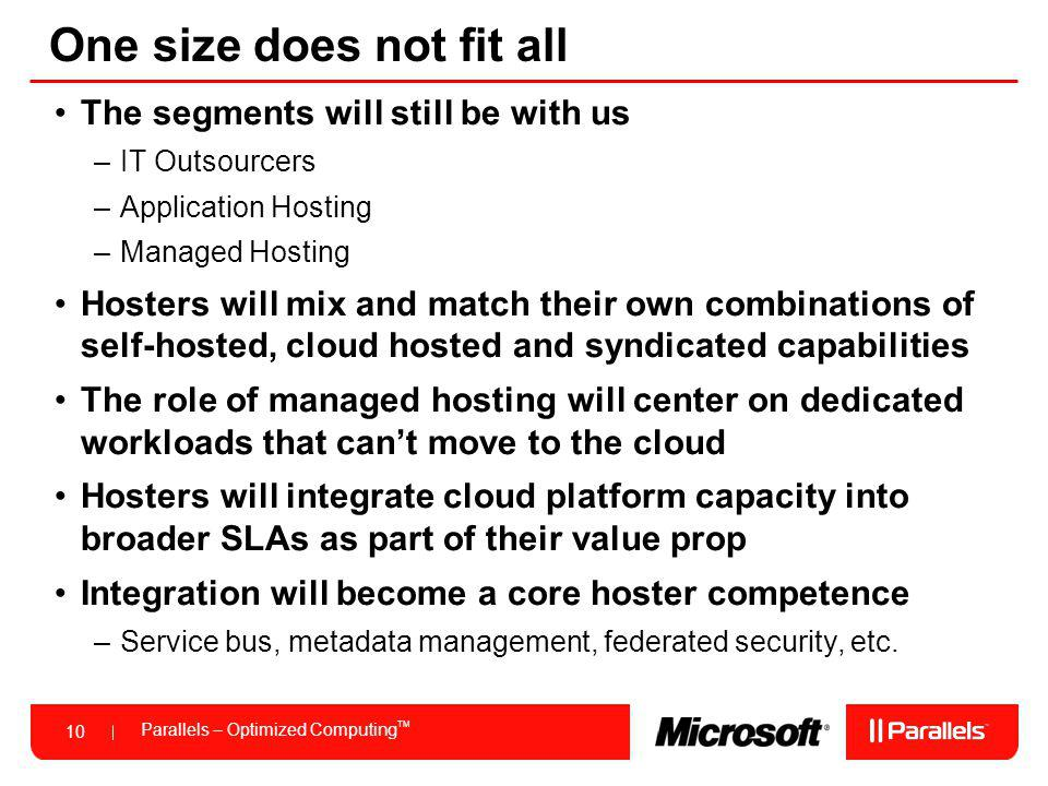 Parallels – Optimized Computing TM 10 One size does not fit all The segments will still be with us –IT Outsourcers –Application Hosting –Managed Hosting Hosters will mix and match their own combinations of self-hosted, cloud hosted and syndicated capabilities The role of managed hosting will center on dedicated workloads that cant move to the cloud Hosters will integrate cloud platform capacity into broader SLAs as part of their value prop Integration will become a core hoster competence –Service bus, metadata management, federated security, etc.