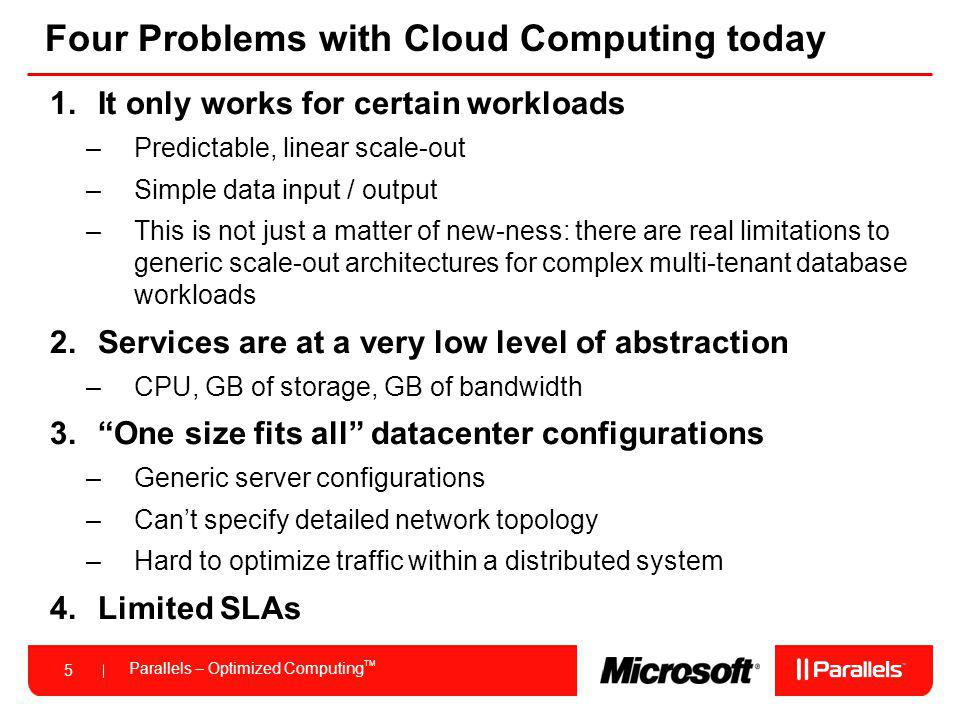 Parallels – Optimized Computing TM 5 Four Problems with Cloud Computing today 1.It only works for certain workloads –Predictable, linear scale-out –Si