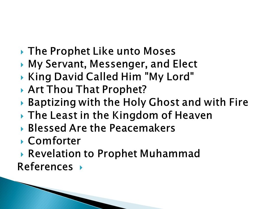 The Prophet Like unto Moses My Servant, Messenger, and Elect King David Called Him My Lord Art Thou That Prophet.