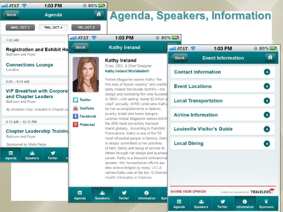 NAWBO Conference Mobile App Available Week of October 1 st on iPhones, iPads Android Phones & Tablets Download free NAWBO App from the iTunes App Store or Google Play Dont miss out, look for it before the conference