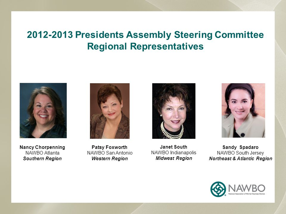 NAWBO REGIONAL BREAKDOWNS Northeast & Atlantic Region Maine, New Hampshire, Vermont, Massachusetts, Rhode Island, Connecticut, New York, Pennsylvania, New Jersey, Delaware, Maryland, District of Columbia, Virginia, W.