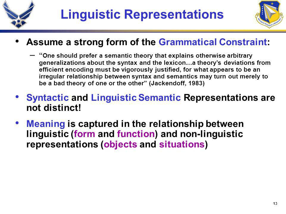 13 Linguistic Representations Assume a strong form of the Grammatical Constraint: – One should prefer a semantic theory that explains otherwise arbitr