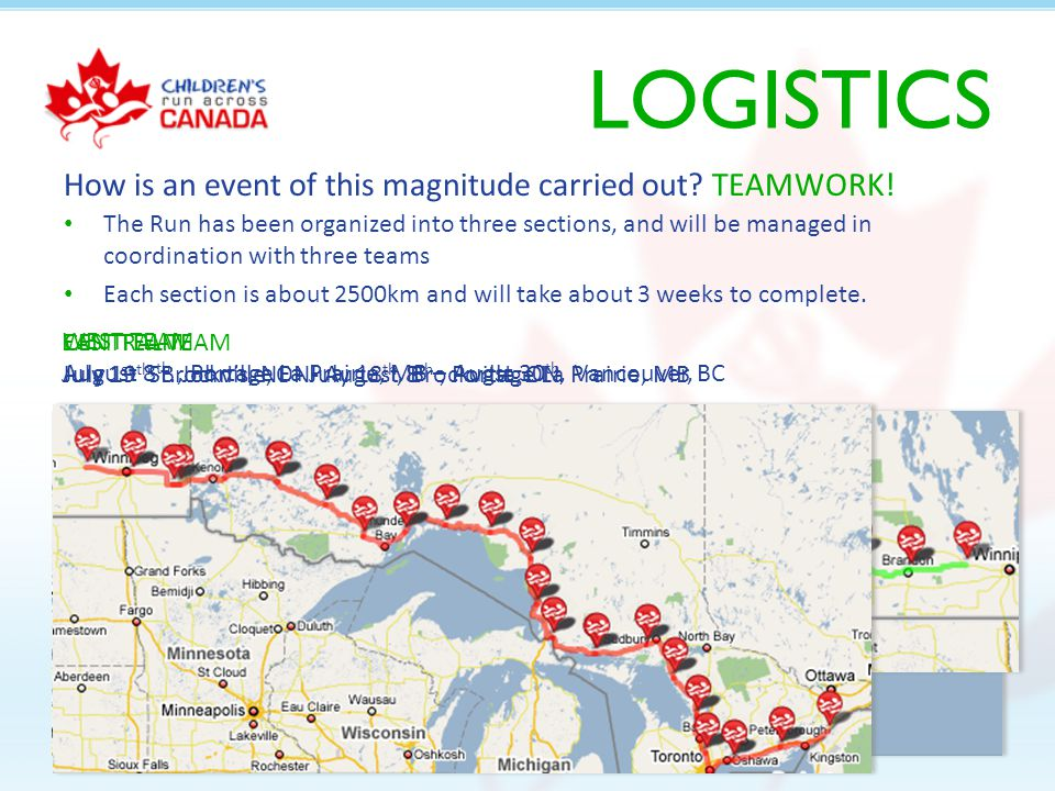 LOGISTICS The Run has been organized into three sections, and will be managed in coordination with three teams Each section is about 2500km and will take about 3 weeks to complete.