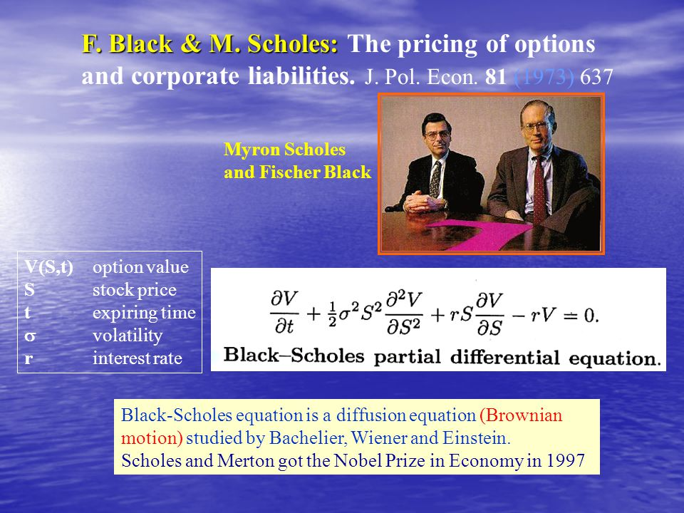 F. Black & M. Scholes: F. Black & M. Scholes: The pricing of options and corporate liabilities.