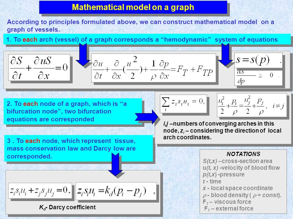 vv Mathematical model on a graph According to principles formulated above, we can construct mathematical model on a graph of vessels. NOTATIONS S(t,x)