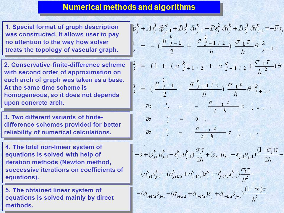 Numerical methods and algorithms 3. Two different variants of finite- difference schemes provided for better reliability of numerical calculations. 1.