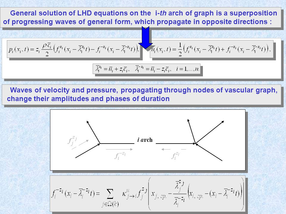 General solution of LHD equations on the i-th arch of graph is a superposition of progressing waves of general form, which propagate in opposite directions : Waves of velocity and pressure, propagating through nodes of vascular graph, change their amplitudes and phases of duration Waves of velocity and pressure, propagating through nodes of vascular graph, change their amplitudes and phases of duration i arch