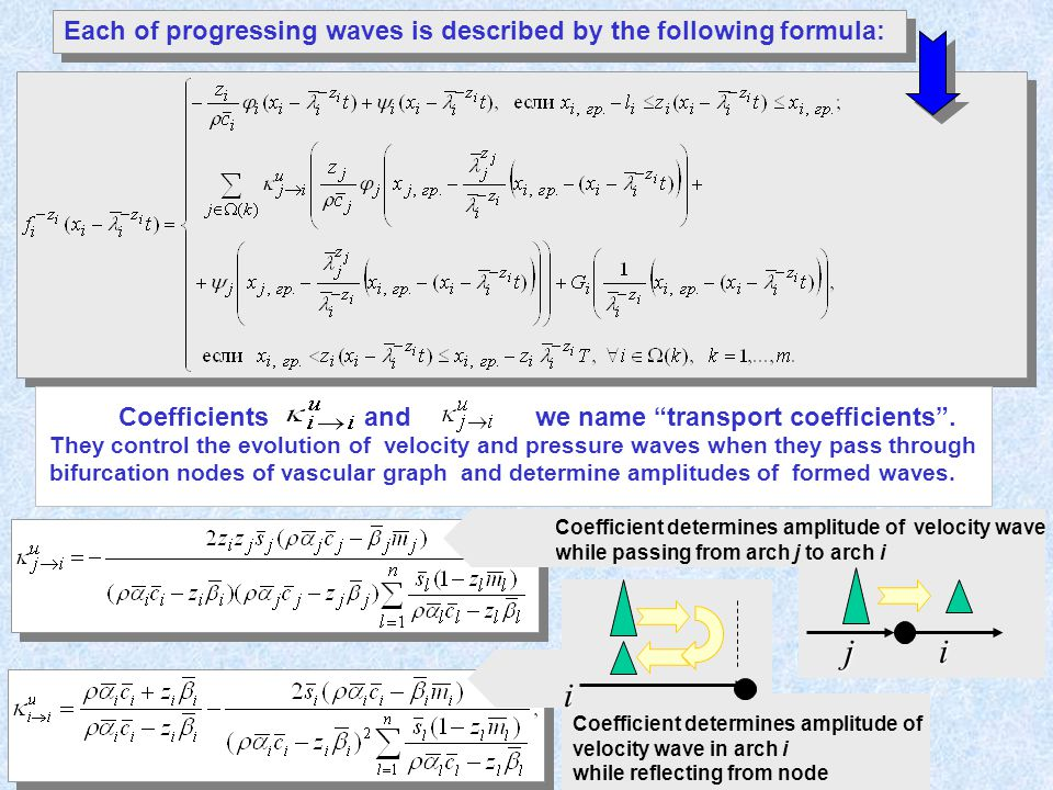 Coefficient determines amplitude of velocity wave while passing from arch j to arch i Each of progressing waves is described by the following formula: They control the evolution of velocity and pressure waves when they pass through bifurcation nodes of vascular graph and determine amplitudes of formed waves.