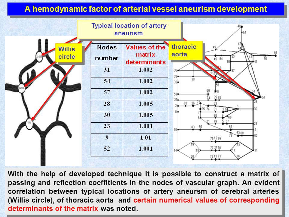 A hemodynamic factor of arterial vessel aneurism development With the help of developed technique it is possible to construct a matrix of passing and reflection coeffitients in the nodes of vascular graph.