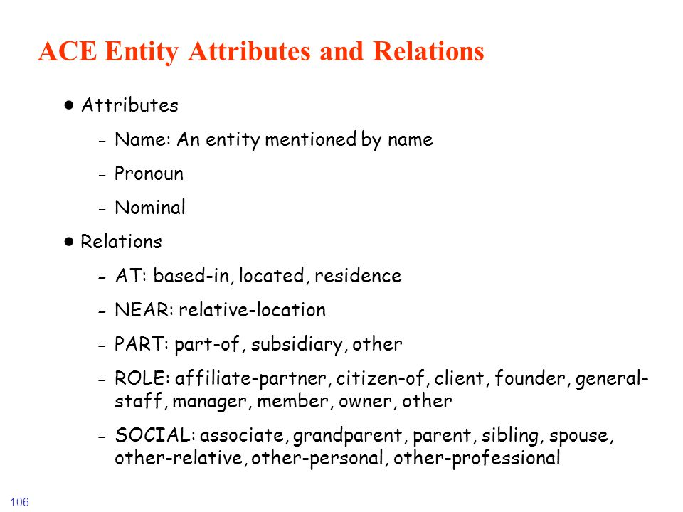 106 ACE Entity Attributes and Relations Attributes -Name: An entity mentioned by name -Pronoun -Nominal Relations -AT: based-in, located, residence -N