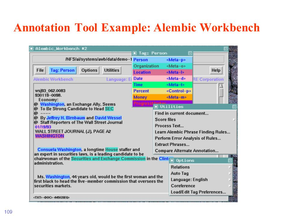 109 Annotation Tool Example: Alembic Workbench