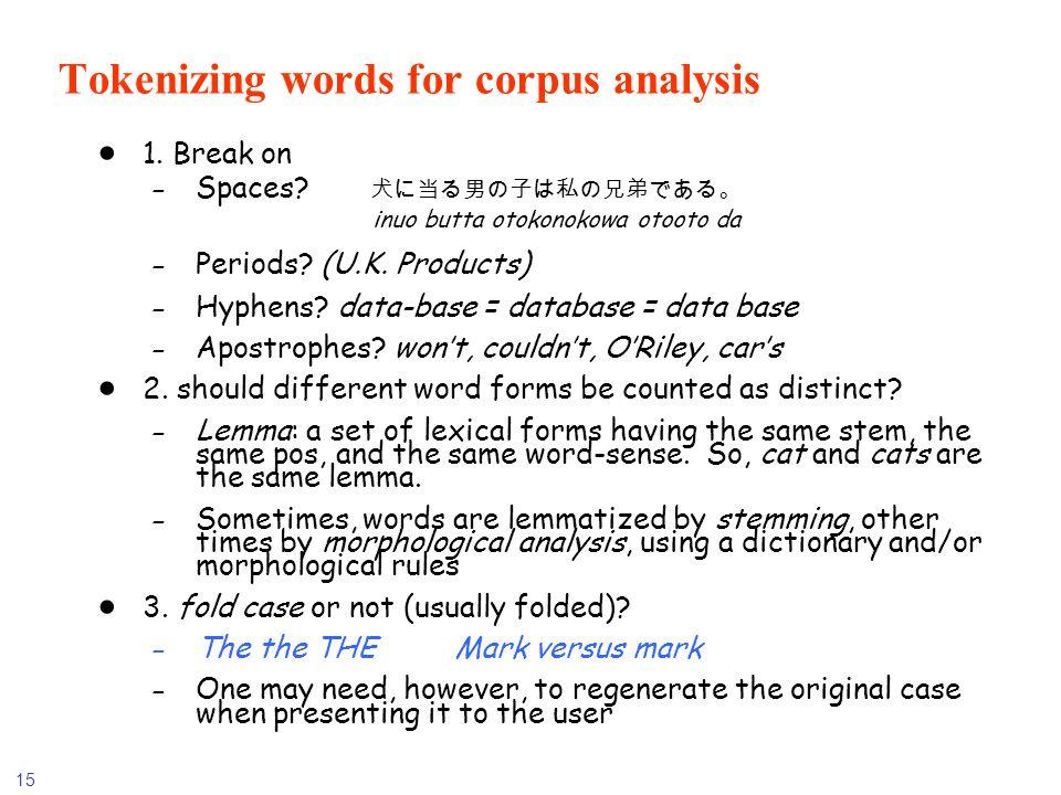 15 Tokenizing words for corpus analysis 1. Break on -Spaces? inuo butta otokonokowa otooto da -Periods? (U.K. Products) -Hyphens? data-base = database