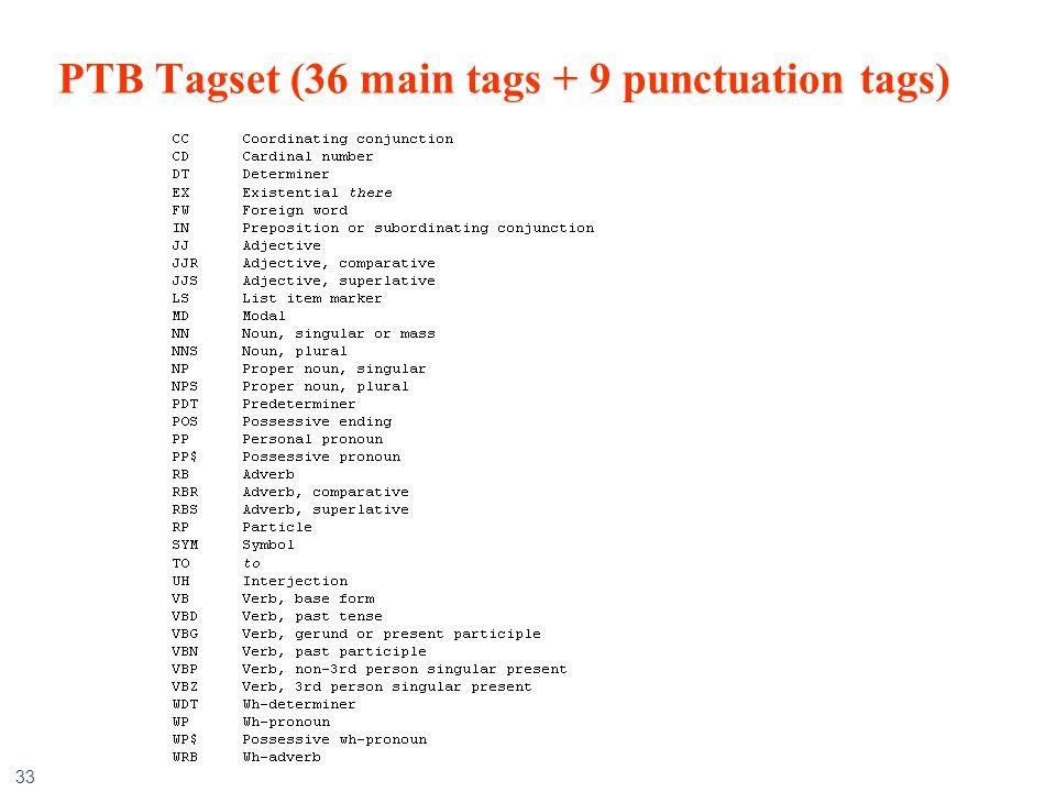33 PTB Tagset (36 main tags + 9 punctuation tags)